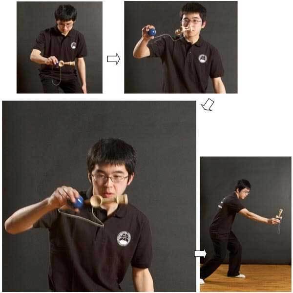 Foxton Child Kendama Ball Wood Wooden Skill Toy Bilboquet Game(China (Mainland))