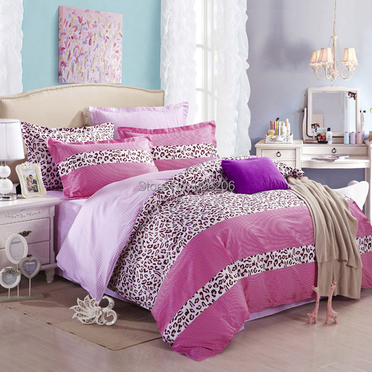 Buy sale pink leopard print girl 39 s 4pcs comforter cover set sexy 100 cotton - Pink cheetah bed set ...