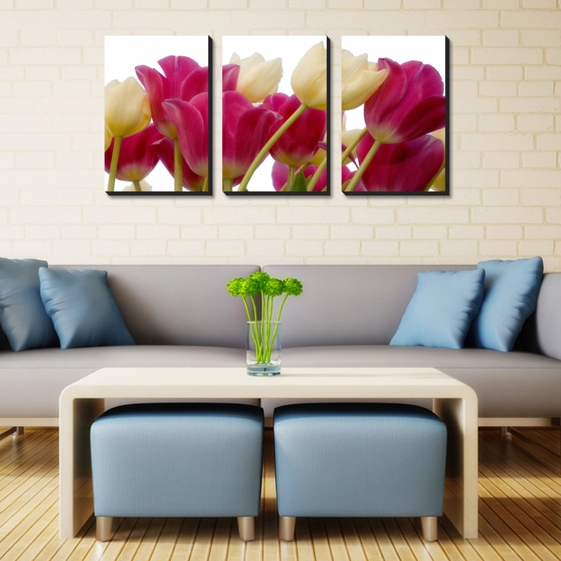 3 Piece Hot Sell Modern Canvas Painting / Wall Painting Tulip Home Decoration Flowers Art Picture Paint on Canvas Prints(China (Mainland))