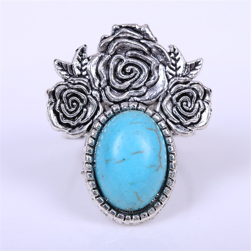 Vintage Turquoise Rings For Women Antique Silver Plated African Bead Rose Adjustable Custom Nfl Replica Jerseys Dragon Claw Ring(China (Mainland))