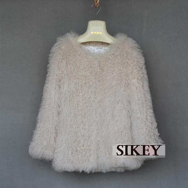 New HOT! genuine fleece fur coat white color women fur jacket long style(China (Mainland))