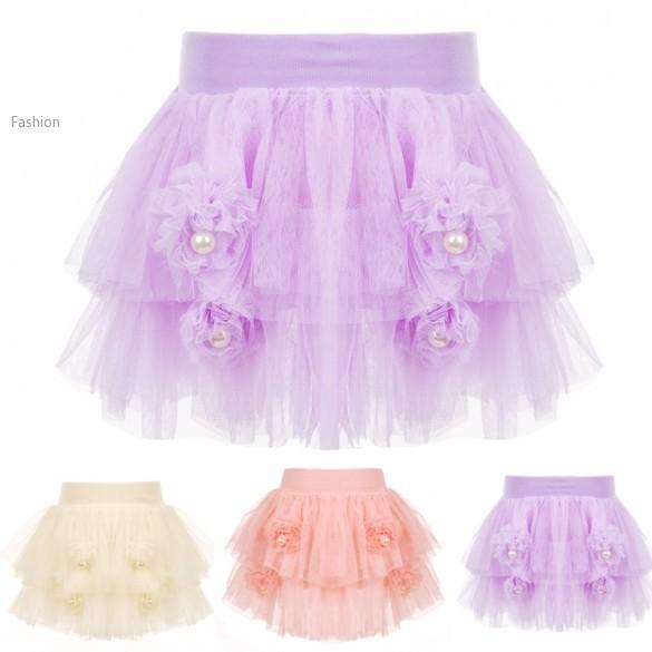 3 Colors Kids Girls Skirts Flower And Pearl Decor Girl Baby Tutu Skirt Dance Wear Pettiskirts Princess Skirts For 3~7 Years 24(China (Mainland))