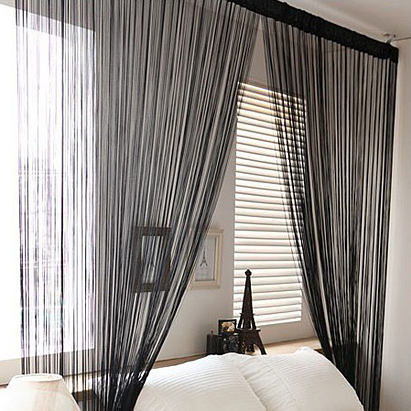 Cute Solid Color Decorative String Curtain 100cmx200cm Classic Line Curtain for Windows Blind Valance Room Divider(China (Mainland))