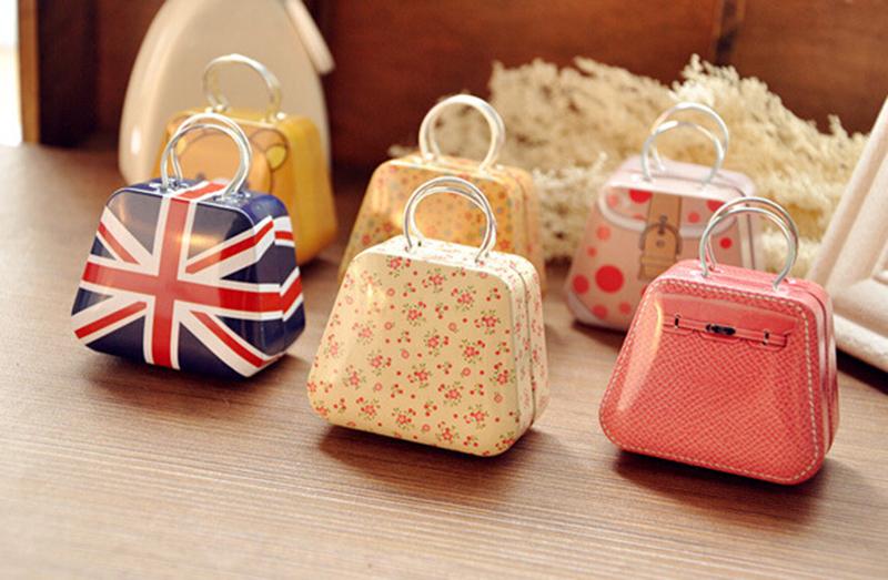 Hot New 16Style Cute Candy Jewelry Case Storage Box Mini Metal Capsule Handbag Tinplate Coin Bag(China (Mainland))