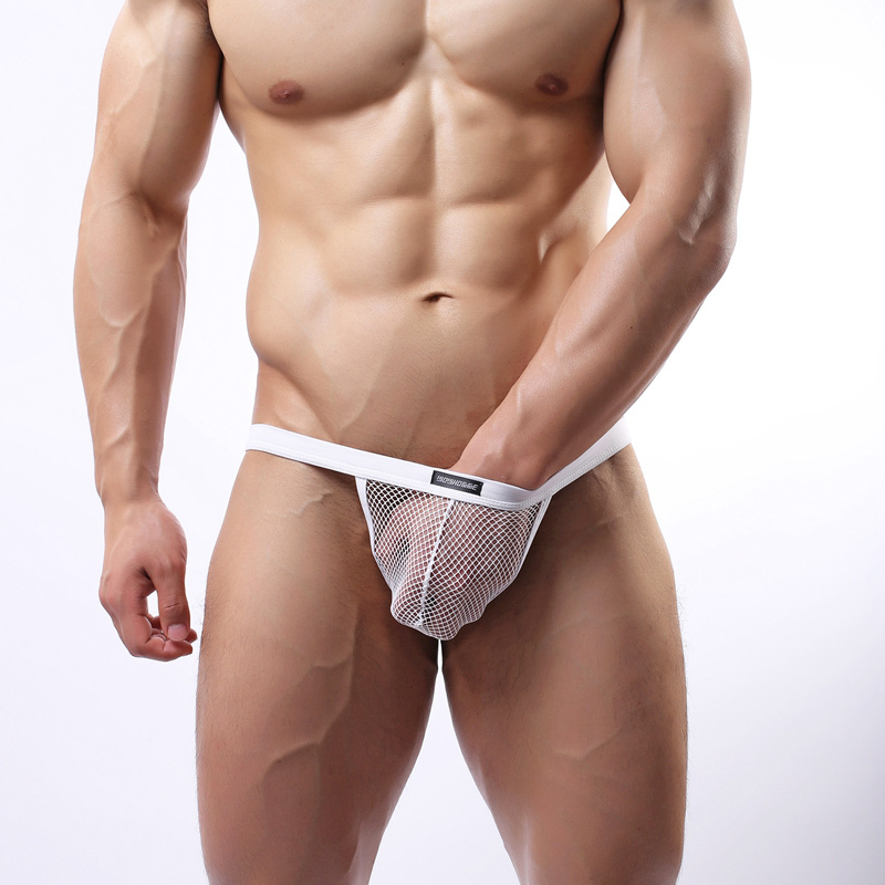 WHC10 Men Sexy Mesh Fun Transparent Briefs Bikini G-string Thong Tanga Underwear Shorts Exotic T-back(China (Mainland))