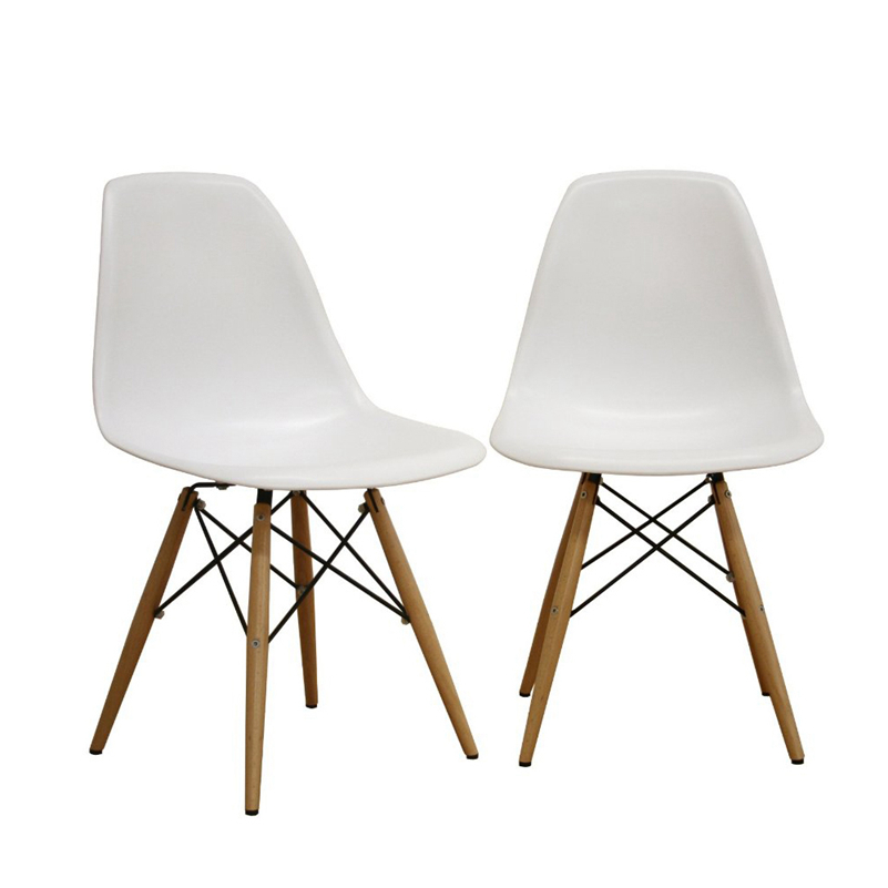 Simple Furniture The Modern Popular Plastic Chair Leisure Dining Chair Composition Of Synthetic Resin And Solid Wood Legs White(China (Mainland))
