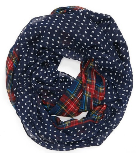 2015 New Fashion Winter Navy Polka Dotted Turban Checked Plaid Infinity Scarf For Womens Mother Christmas Gifts(China (Mainland))