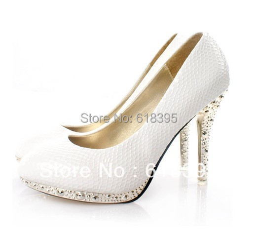 2013 New White Color Serpentine Leather Shoes Ladies Women's High-Heels Platform Wedding Dress shoes - Right Here Store store