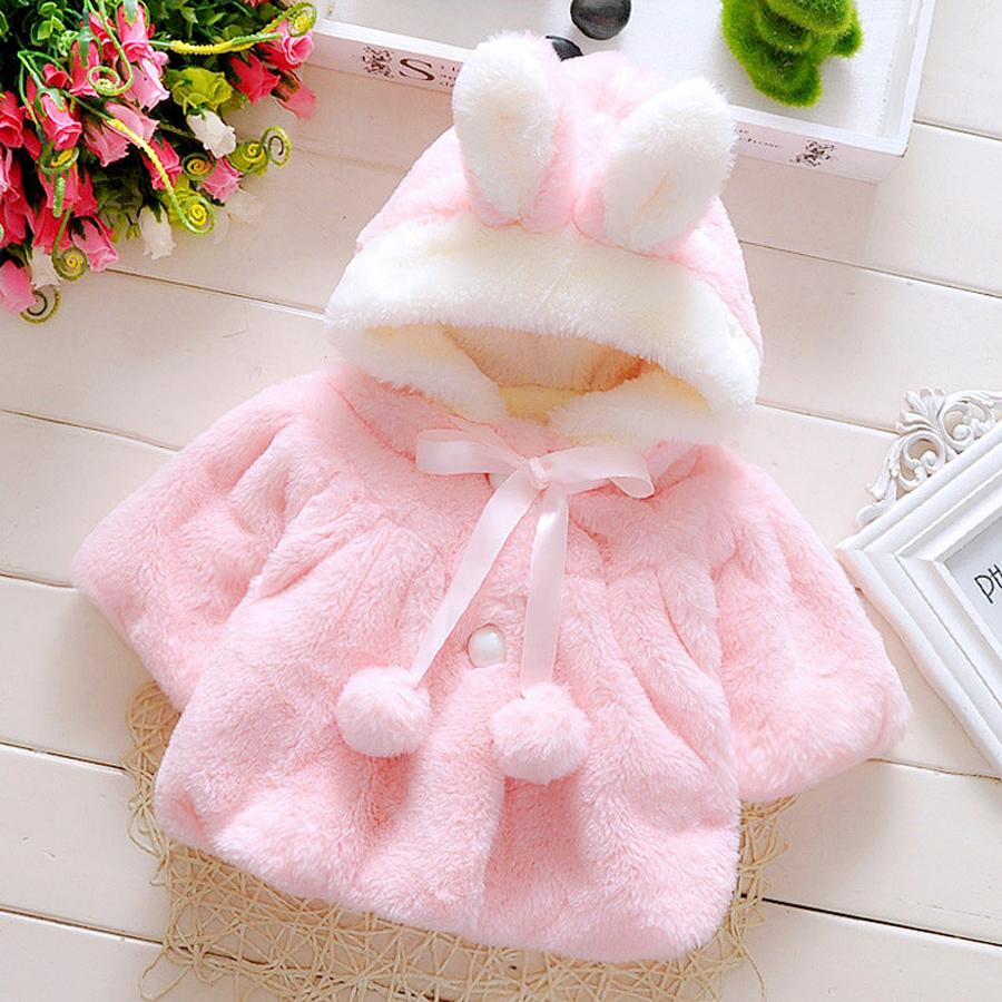 Brand Children Cute Coat Kids Winter Cloak Cardigan With Rabbit Ears Hat Jackets For Little Girls Autumn Baby Girl Hoody Coat(China (Mainland))