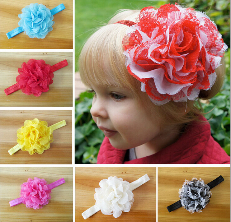 "50pcs 4"" hair accessories kids bows flower baby girls headband lace fabric flowers with stretchy hair band african gele SG8623(China (Mainland))"