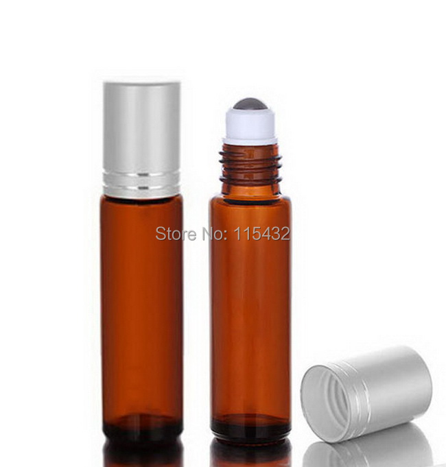 AMBER Thick 10ml (1/3oz) Glass Roll On Essential Oils Bottle Perfume Fragrances Vial + Stainless Steel Roller Ball 600pcs/lot(China (Mainland))