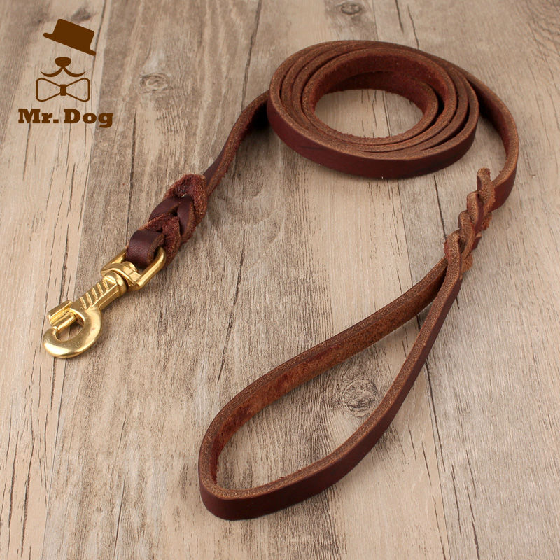 High quality Medium-sized Dog Leads cowhide Brass buckle Pet Harness Leather Pet's Traction 1.7M 2.2M 2.7M(China (Mainland))