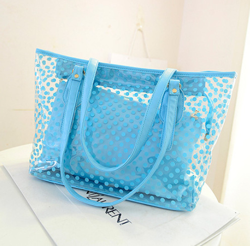 2016 Women Handbags Summer Wave Point Bags Candy Color Shoulder Bag Waterproof Casual Totes Transparent Bags(China (Mainland))
