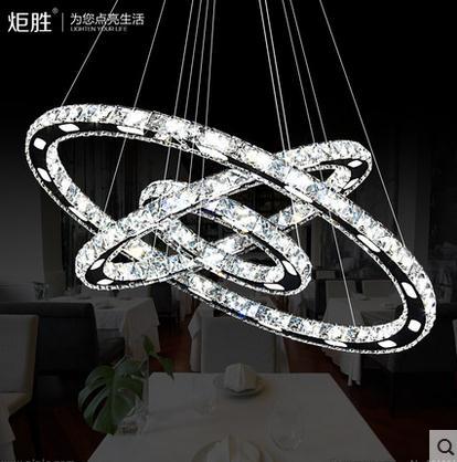 3 diamond ring crystal led pendant light suspension for Suspension 3 lumieres
