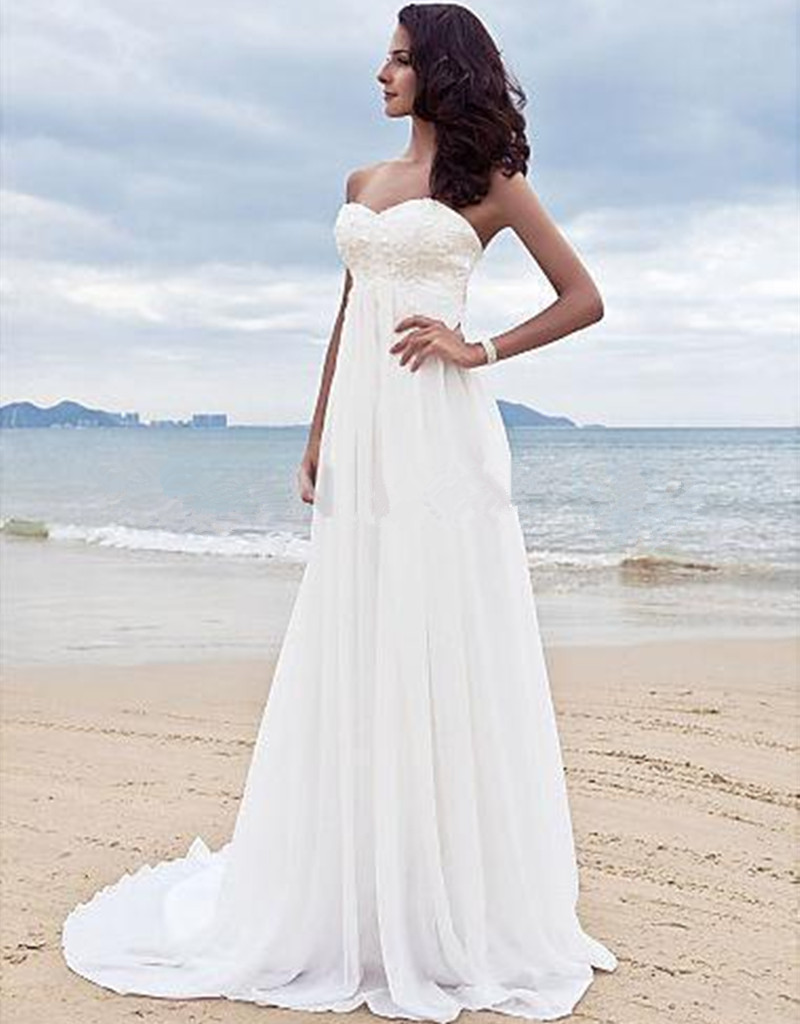 High quality white chiffon bridal gowns cheap beach for White wedding dress cheap