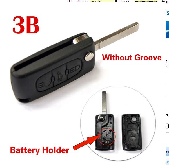 Brand New Case Modified Folding Flip Remote Key Shell 3 Buttons For Peugoet 307 (VA2 Blade Without Groove) with battery holder(China (Mainland))