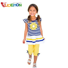 2016 Girls Clothing Sets Short Sleeve Striped T-Shirt +Pants girls clothes kids set Summer Style roupas infantil meninas(China (Mainland))