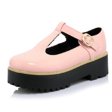 Buy Women Flats Creepers T-Straps Buckle Round Toe High Platform Shoes Solid Thick Heel Casual Loafers Platform Flats Women Shoes for $27.53 in AliExpress store