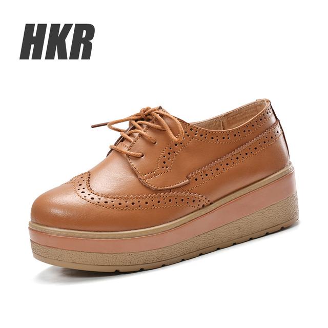 HKR 2016 Весной платформы женщин обувь из натуральной кожи на шнуровке квартиры платформы ...