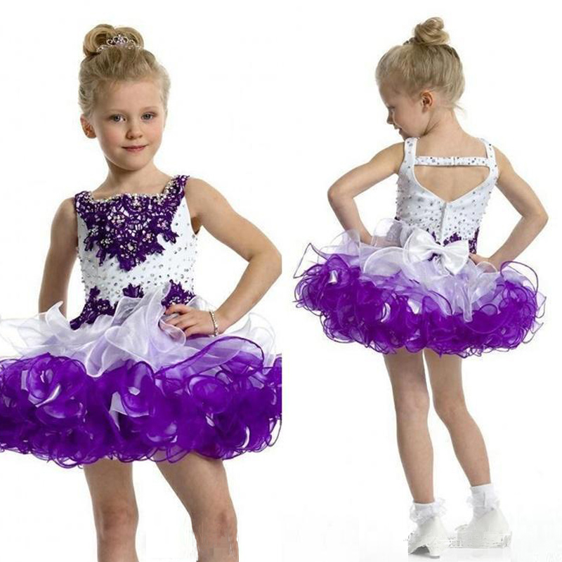 Cap Sleeves Long Lilac Prom Dress Children Beaded Applique Glitz Pageant Ball Gown White And Purple
