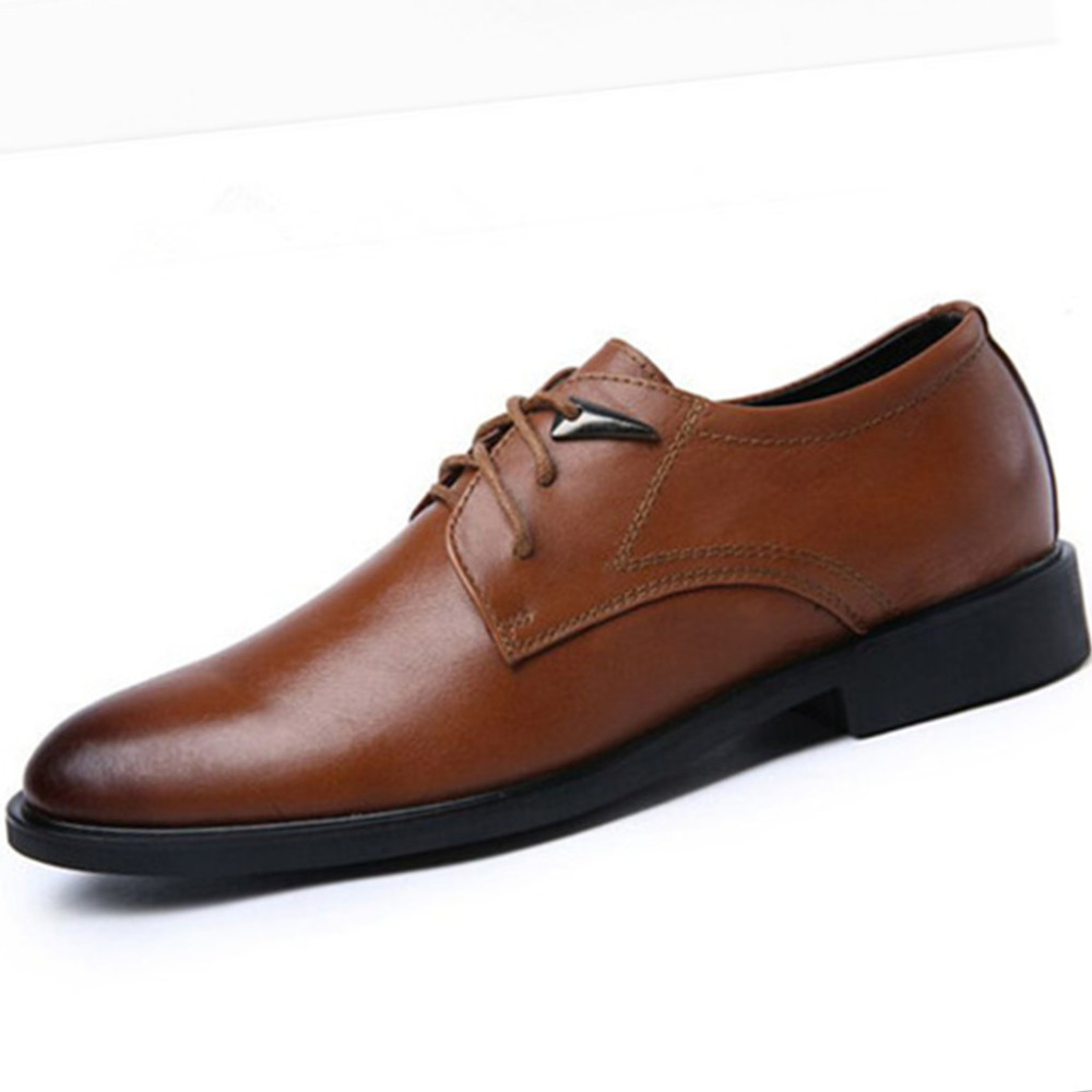 2015 Mens Derby Shoes Genuine Leather Flats Breathable Business Formal Lace Man Dress Spring Black Size 38-46