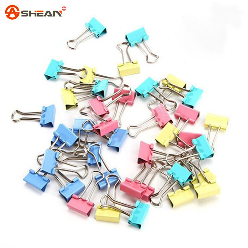 15mm Colorful Metal Binder Clips Paper Clip Office Stationery Binding Supplies 60pcs/lot<br><br>Aliexpress