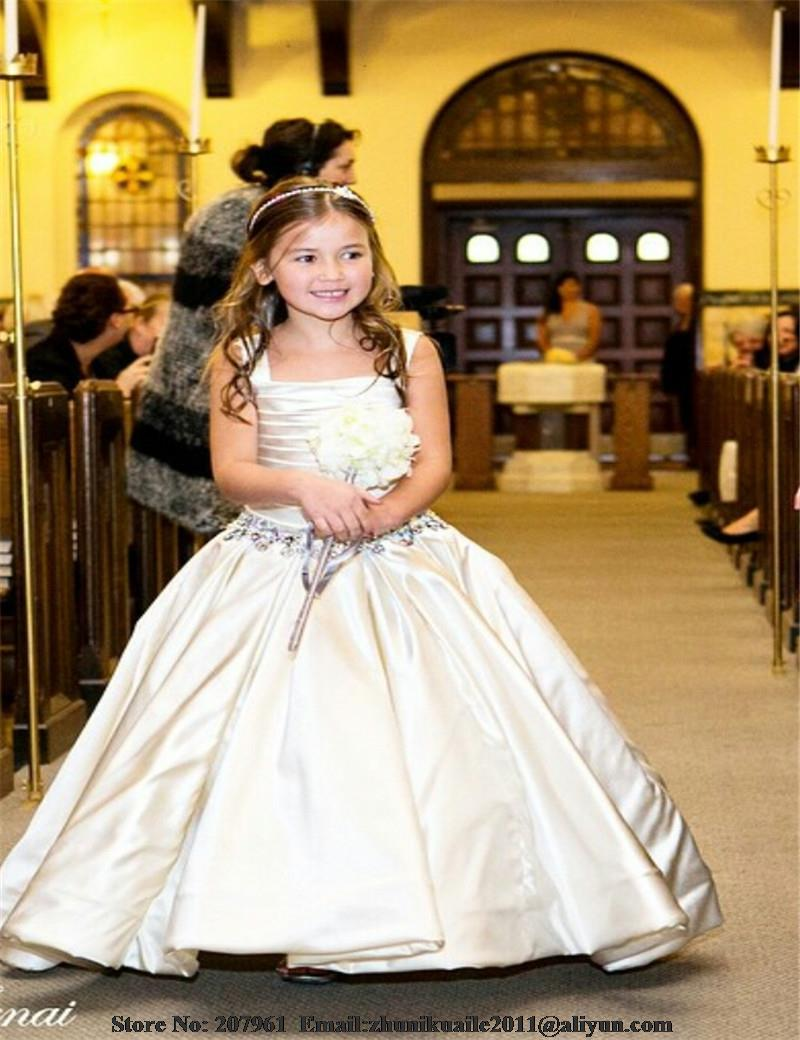 Ball gown Flower Girl Dresses For Wedding Flowers Girl with Crystal beads Cute first communion dress girl princess dresses(China (Mainland))