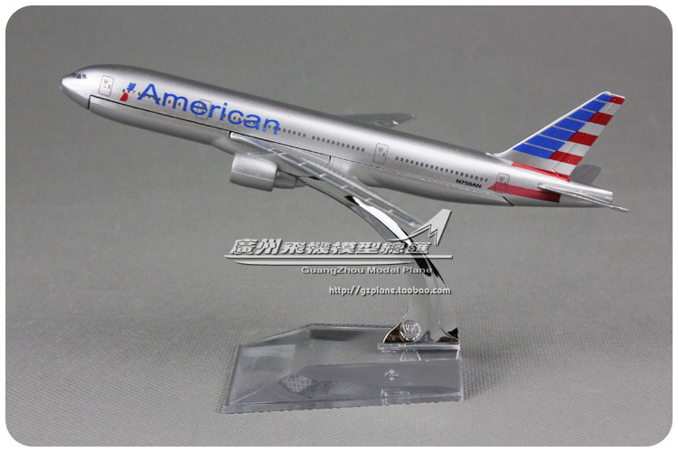 (5pcs/lot) Brand New 1/400 Scale Airplane Model Toys American Airlines Boeing B777 (16cm) Diecast Metal Plane Model Toy(China (Mainland))