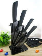 "High Quality Black Blade Ceramic Knife Set Chef Kitchen Knives 3"" 4"" 5"" 6"" + Peeler + Holder Free Shipping(China (Mainland))"