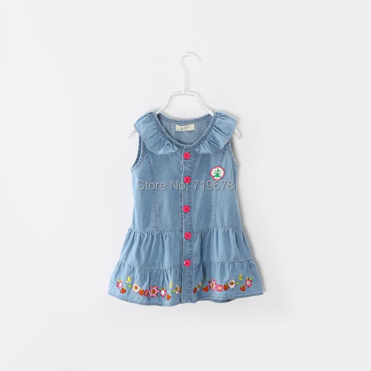 Wholesale kids summer dress baby Girl Flowers embroidered Denim sleeveless vest dress jeans ...