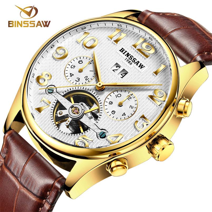 BINSSAW original luxury brand the tourbillon automatic mechanical watches men's fashion leather watch of wrist of business gifts(China (Mainland))