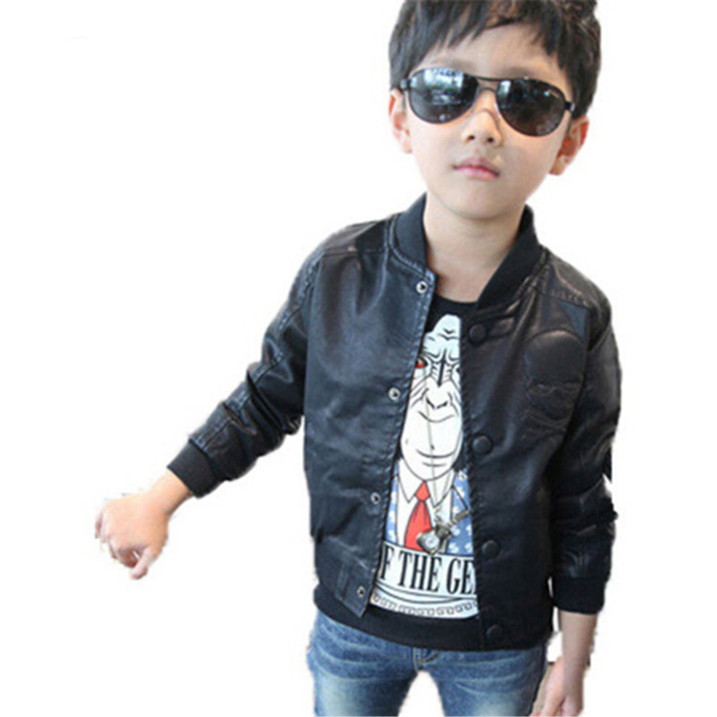 New 2016 Spring Fashion Baby Boys Skull Print Faux Leather Jackets Coat Kids Trendy Autumn Motorcycle Tops Outwear for 2-7Y boys(China (Mainland))