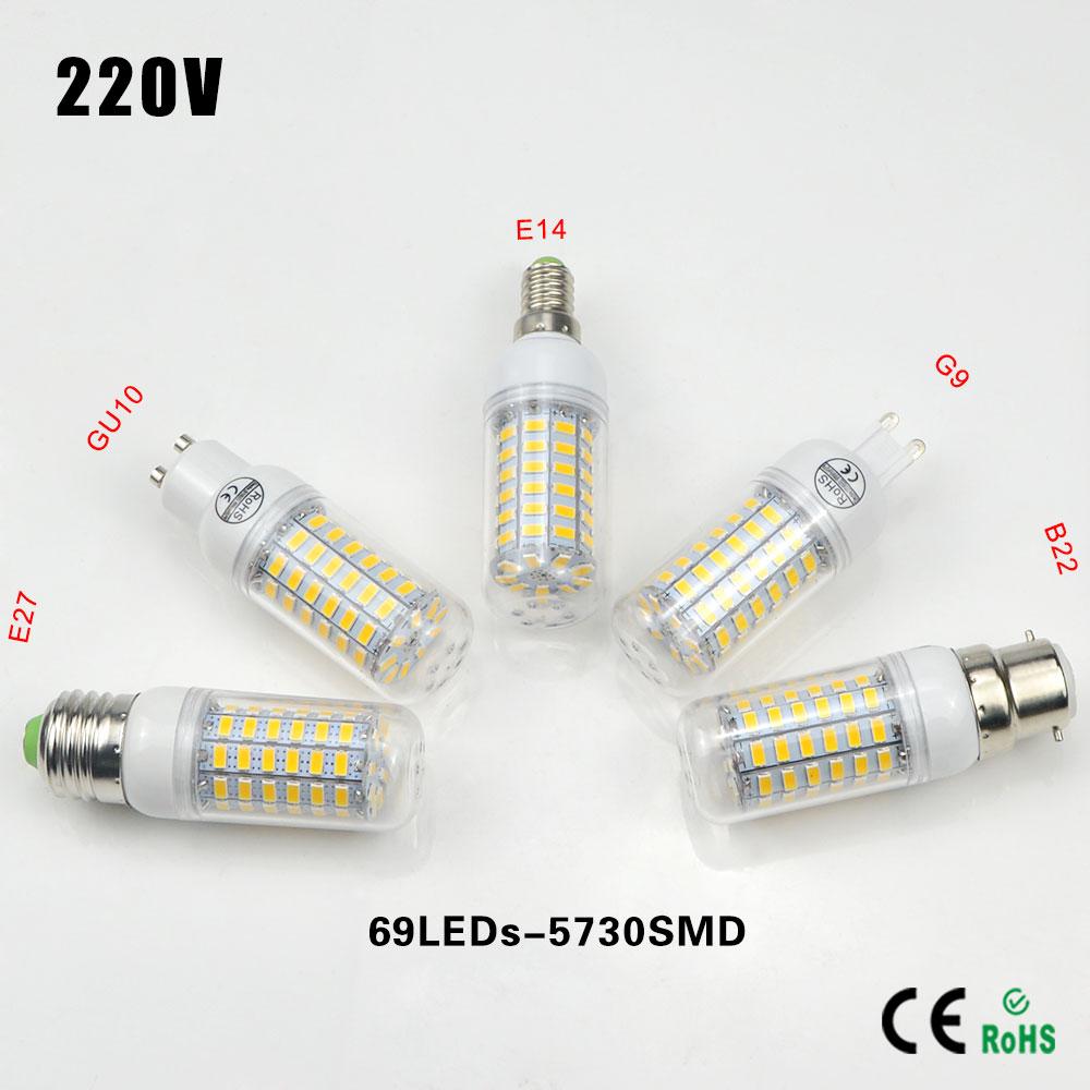 1Pcs 69LEDs E27 E14 G9 GU10 B22 AC 220V LED Corn lamp Spotlight Bulb 5730 SMD Chandelier Replace 25W Compact Fluorescent Light(China (Mainland))