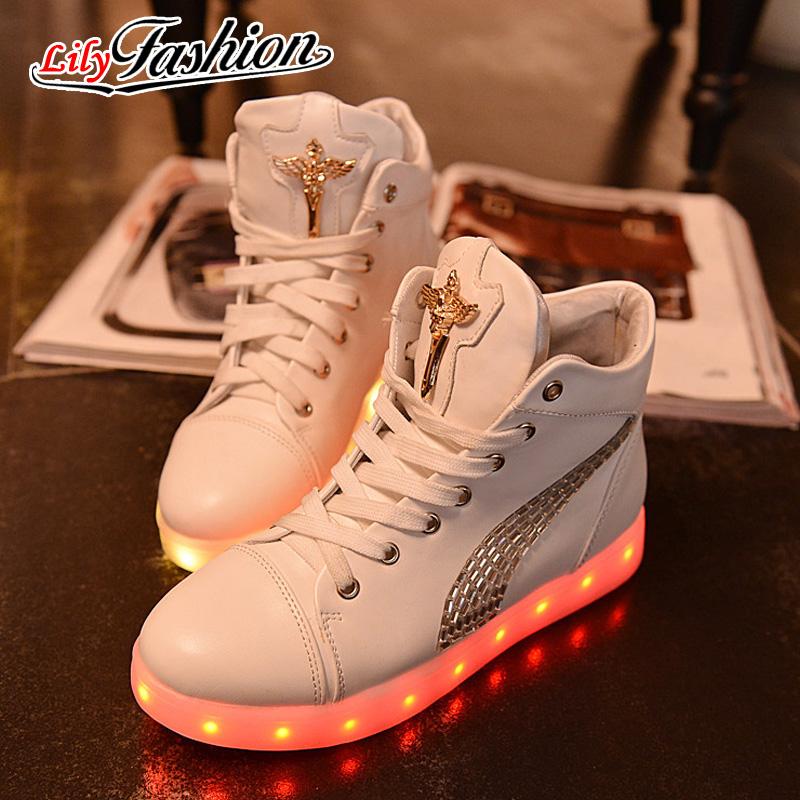 2016 light-emitting charging shoes women LED Shoes Autumn Winter High Top led casual Luminous Shoes ASP44