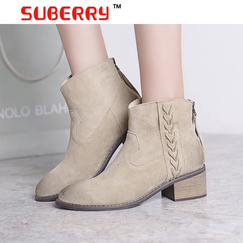 2016 New Top Quality Women Shoes Luxury Brand Chelsea Ankle Boots For Women Medium Heel 100% Genuine Nubuck Leather Womens Boots(China (Mainland))