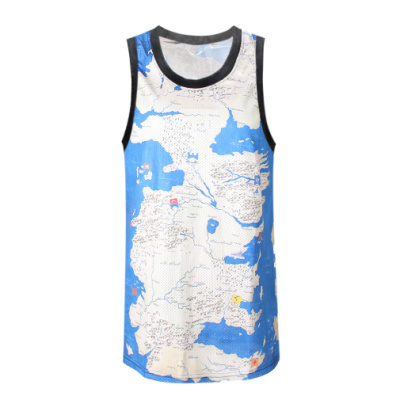 Brand F371 Hip Hop Map Of the World Sky Printing T-shirt Vest Men's Summer Cool Basketball Jersey Free Shipping 2015(China (Mainland))