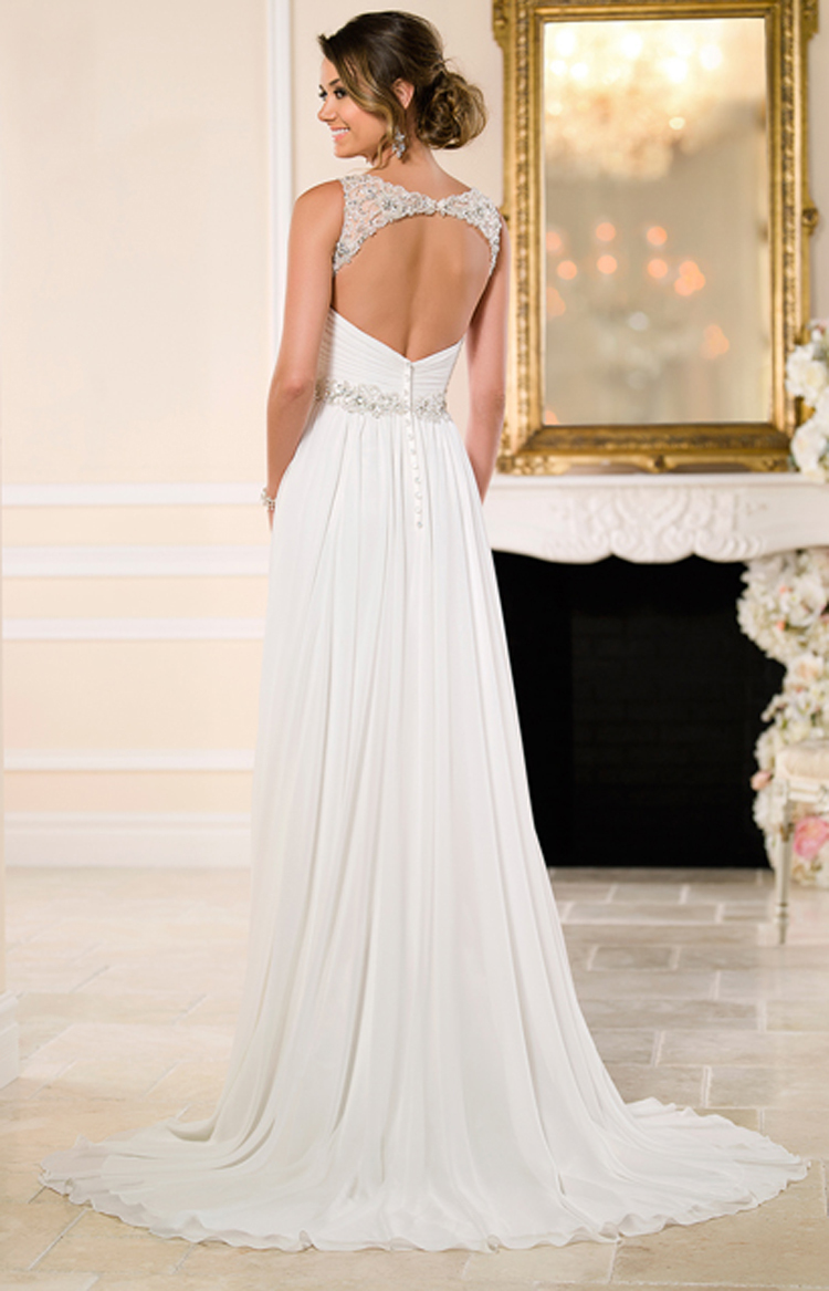 Sexy V neck Chiffon Crystal and Beading A line Beach Wedding Dress With Open Back Cheap