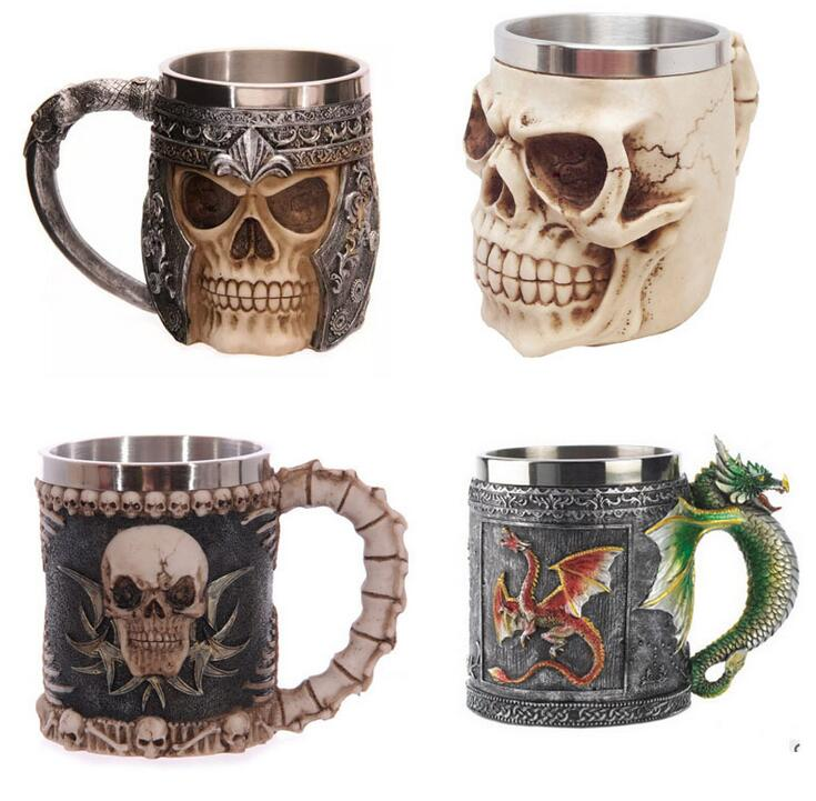 Personalized Double Wall Stainless Steel 3D Skull Mugs Coffee Cup Mug Skull Knight Tankard Dragon Drinking Cup Fancy Decorations(China (Mainland))