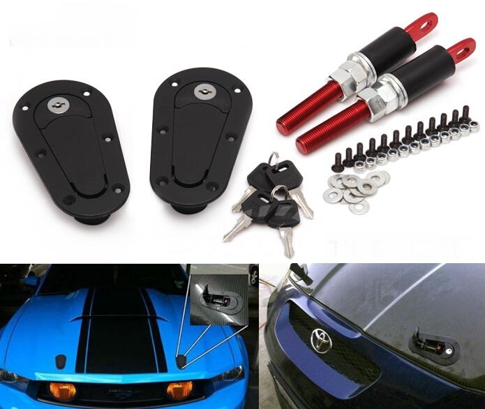Racing Mount Lock Bonnet Plus Flush Hood Latch Pin Kit W/Key Locking Kit Black YA025(China (Mainland))