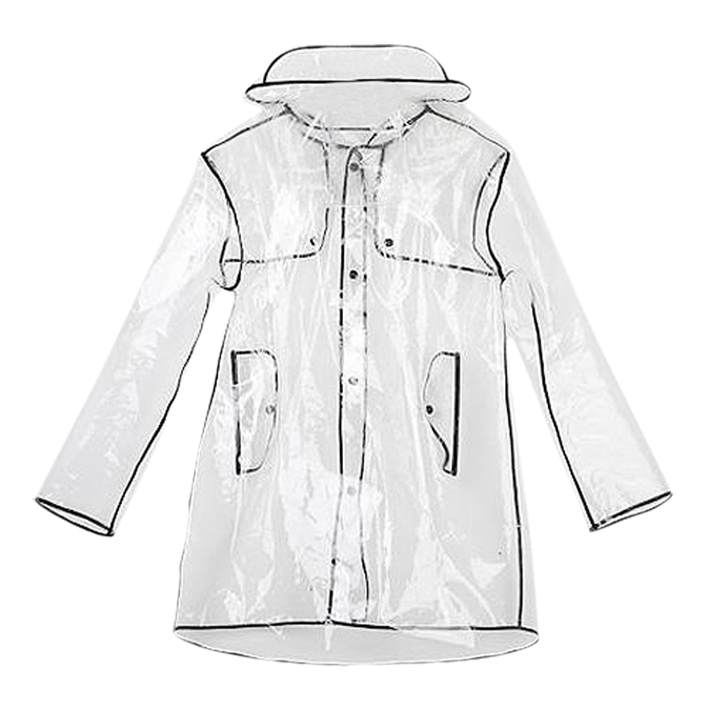 IMC Hot FASHION WOMEN'S TRANSPARENT EVA RAINCOAT OUTDOOR TRAVEL WATERPROOF RAIN COAT black 100cm(China (Mainland))
