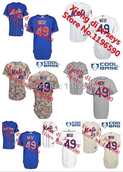 2015 Real Wholesale Free Shipping On Niese 49# New York Mets Baseball Jerseys More Color Embroidered Various Styles Size S-5xl(China (Mainland))