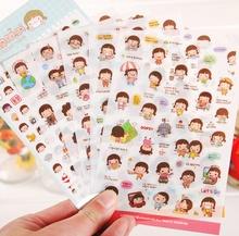 6 sheets/set cute lovely girls phone calendar book album diary decor paper sticker scrapbooking kawaii stickers shipping K6540