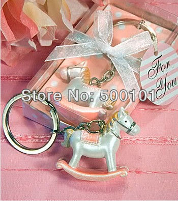 500pcs/lot Party Wedding children gift Favors Valentine's Rocking Horse Key Chain Keychain pink/blue wk001(China (Mainland))