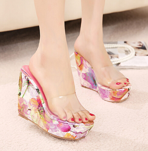 Europe style women high heels shoes open toe pumps platforms wedges sandals women summer party shoes transparent film print pink(China (Mainland))