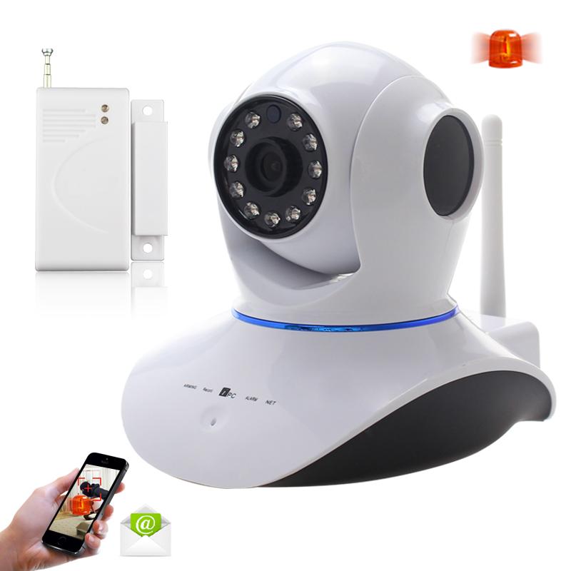 Free Shipping 720P HD IP Network Wireless CCTV Camera with Door Sensor Phone APP Remote Control Surveillance Vedio Recording<br><br>Aliexpress