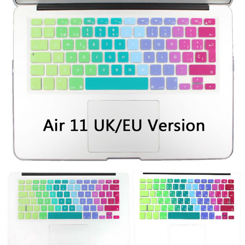 New Silicone EU JIP verison Rainbow Waterproof Air 11 Keyboard Cover Film For Apple Macbook Air 11 11.6 keyboard Stickers(China (Mainland))
