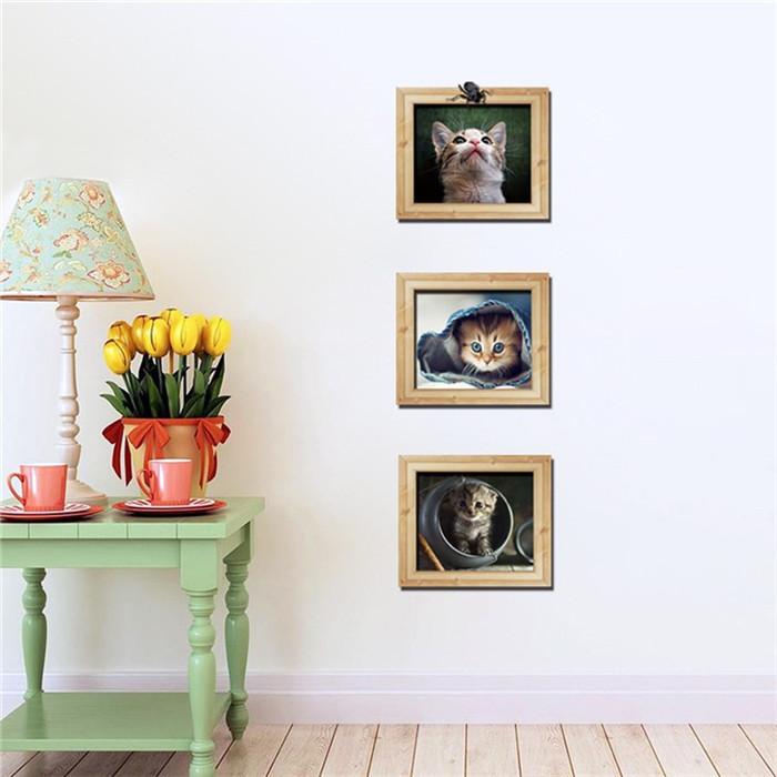 Cartoon Cat 3D Photo Frame Wall Stickers Animals Wall Decals Home Decor Children's Living Room Wallpaper Christmas Decor(China (Mainland))