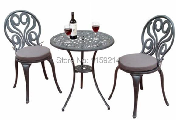 A Table And Two Chairs Garden Furniture BLACK Outdoor Balcony Cast Aluminum T