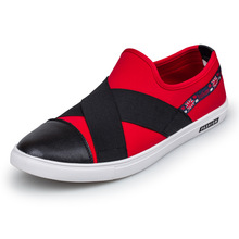 cheap stretch fabric men loafers black red slip cloth patchwork leisure canvas shoes mans flats walk - B2C Shopping Store store