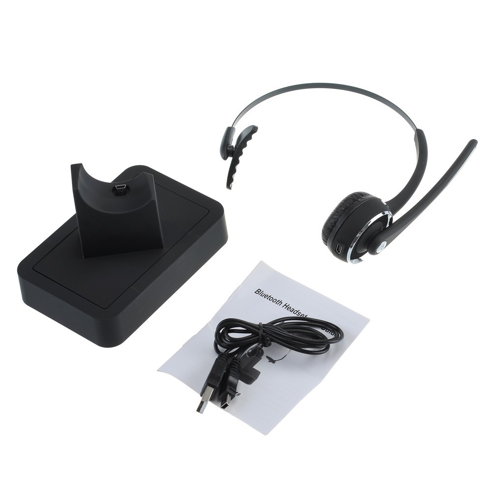 Bluetooth Headset Headphone with Flexible Boom MIC Charging Dock for Computer iPhone Samsung HTC Tablet